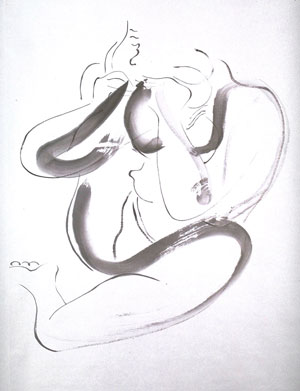 Isamu Noguchi, Seated Female Nude: Scroll (Kakemono)1930 - Hanging scroll, ink on paper © UMMA